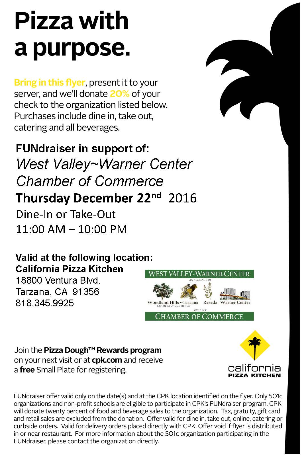 California Pizza Kitchen Fundraiser In Support Of West Valley Warner Center Chamber Of Commerce