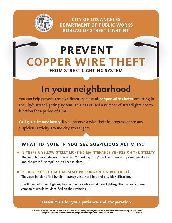 Prevent Copper Wire Theft The Department of Public Works Bureau of Street Lighting ...  sc 1 st  Gil Cedillo & 3.28.14 - Councilmember Gil Cedillo azcodes.com